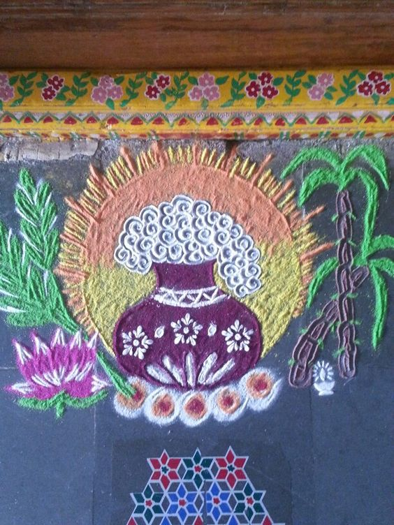 Easy rangoli with pongal elements