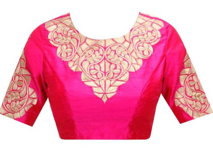 Embroidered blouse design with high-round neck