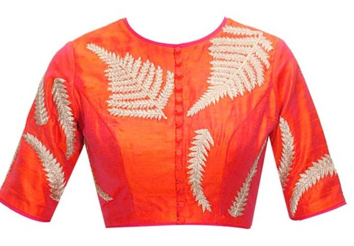Fern-embroidered round-neck blouse design
