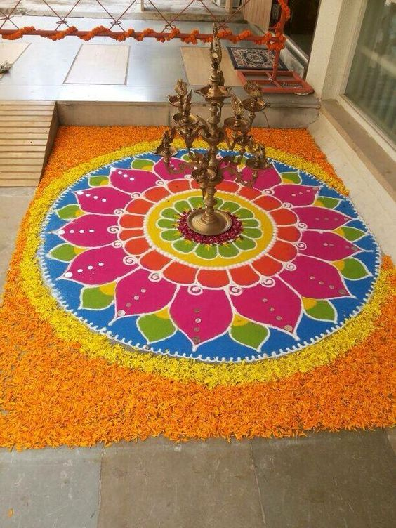 Floral patterns with colorful rangoli