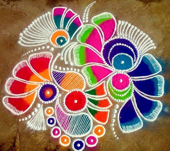 Floral rangoli with shades and designs