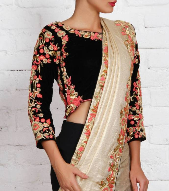 Full sleeve velvet blouse with maggam work for silk sarees