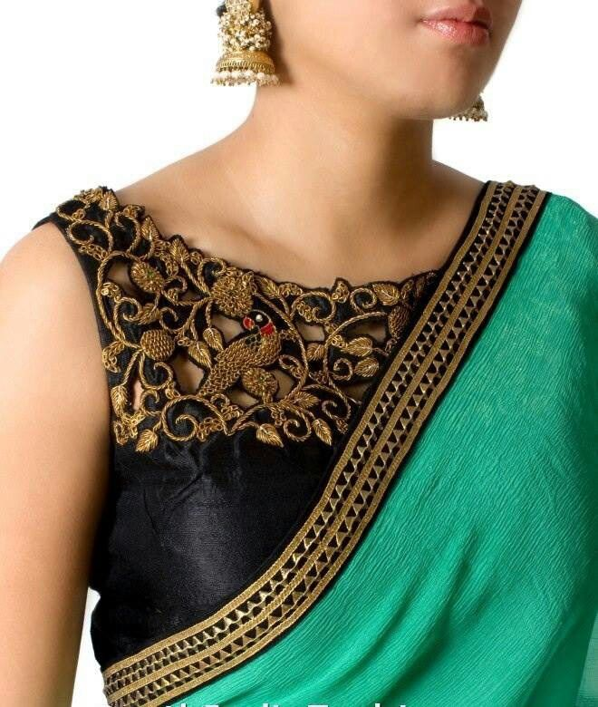 Golden zari cut work blouse design
