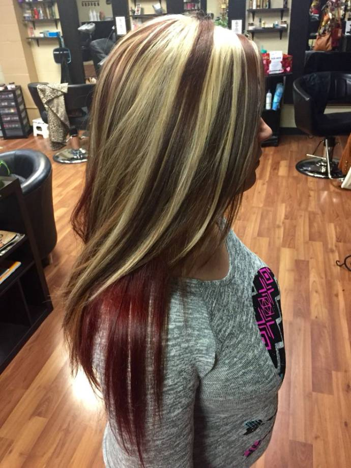Hair above waist blonde and dark