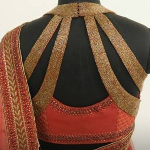 Halter neck blouse back design with golden straps