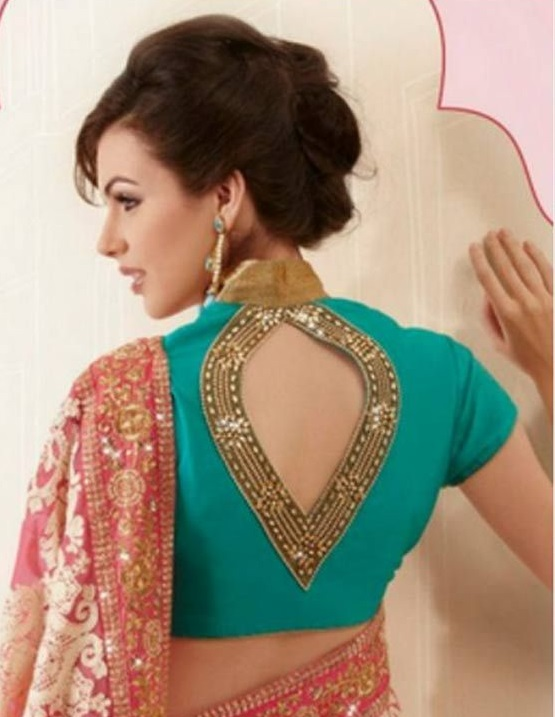 Heart shaped mid-opening high neck blouse back neck design