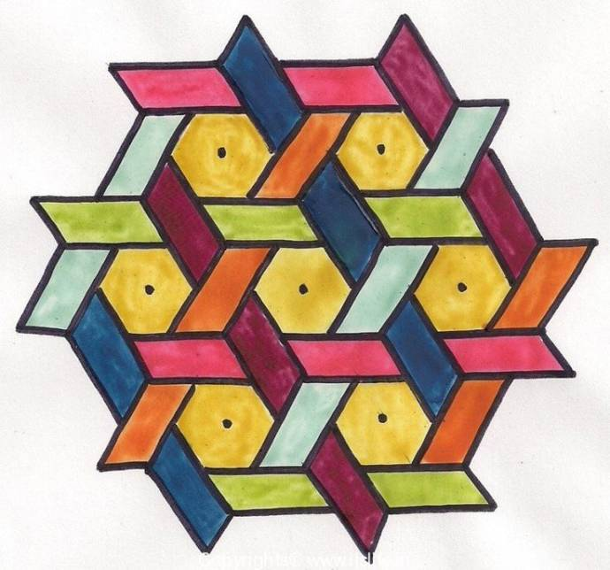 Hexagonal and Parallelogram Designs in yellow,