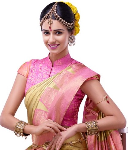 High neck short-sleeve silk saree blouse design