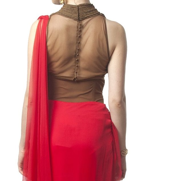 High neck transparent blouse back design for net sarees
