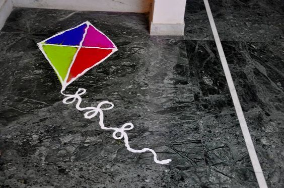 Kite rangoli for sankranthi
