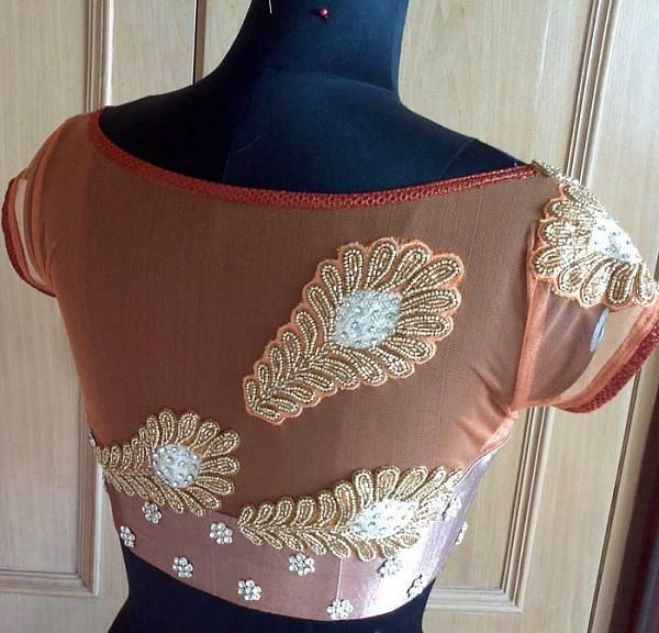 Net back neck design with maggam patchwork