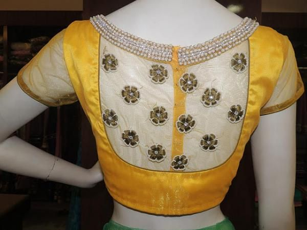 Net-covered back opening short sleeve blouse for net sarees