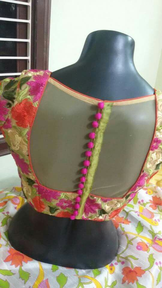 Net covered blouse back neck design
