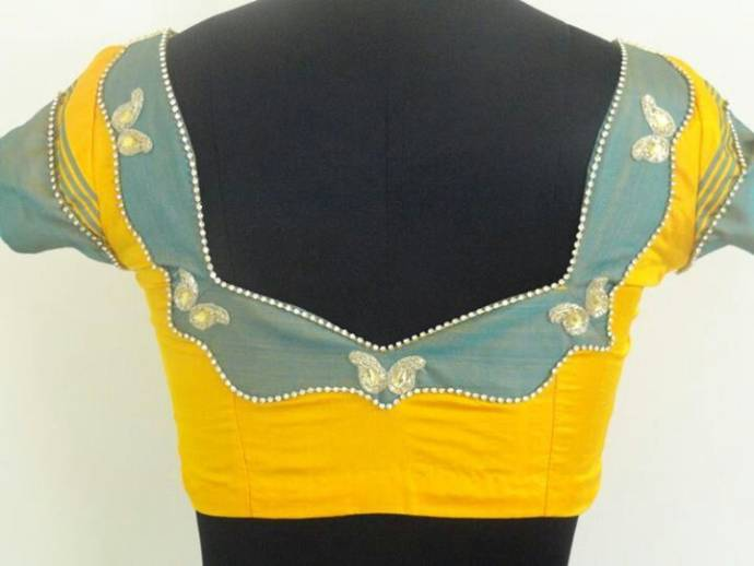 Patched ash and yellow elegant blouse design