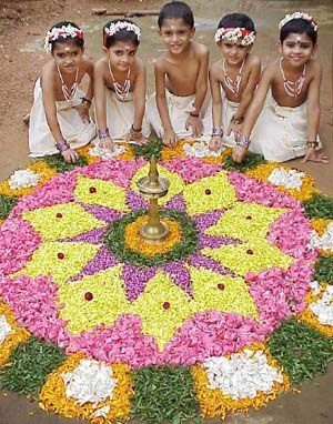 Petaled rangoli with floral shapes
