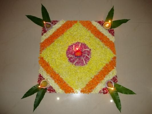 Petaled rangolis on a square base