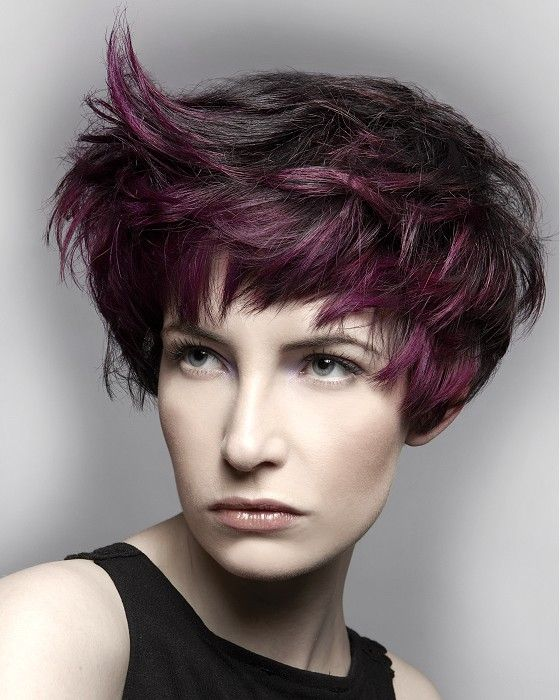 Pixie short with wavy strands and spike