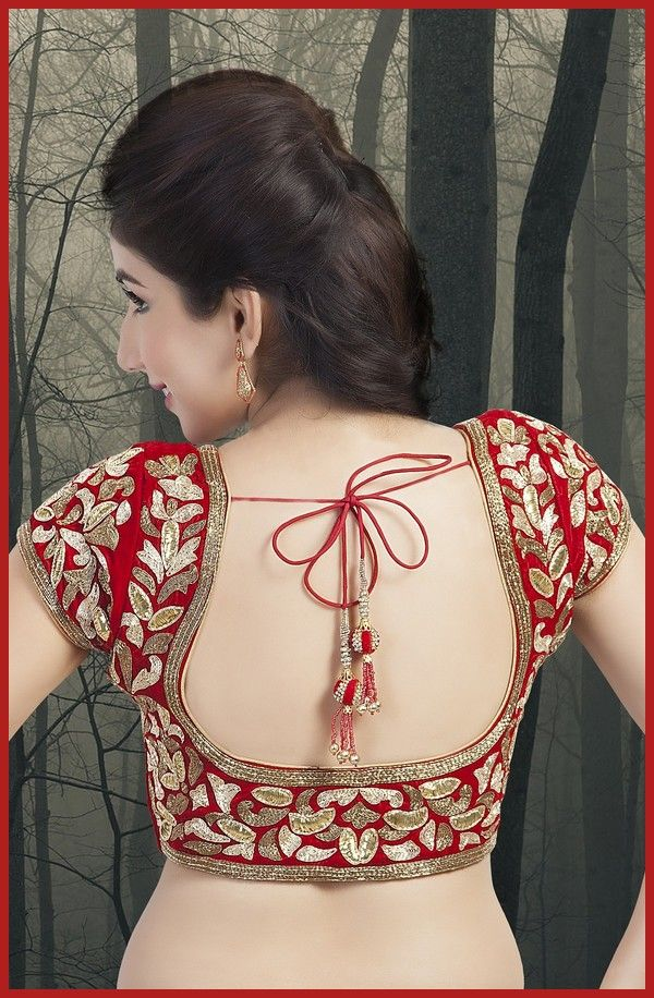 Red blouse with floral embroidery all over work