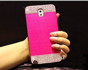 Rhinestone Brushed Metal Back Cover Case for Samsung Galaxy S6 edge