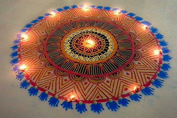 Rich intricacy added to a big rangoli design