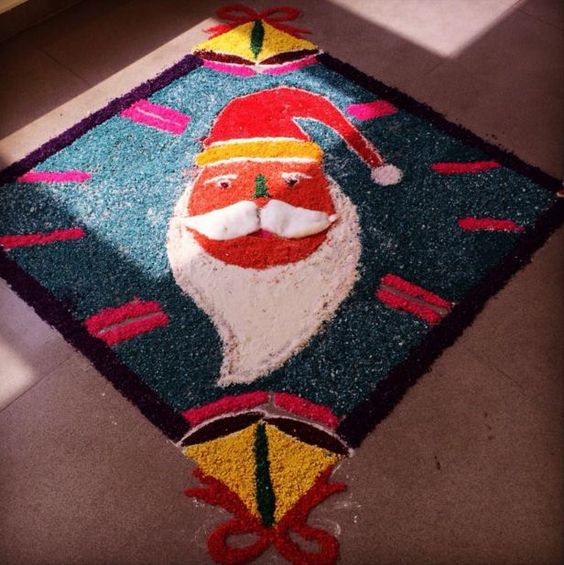 Santa's face drawn on colorful base