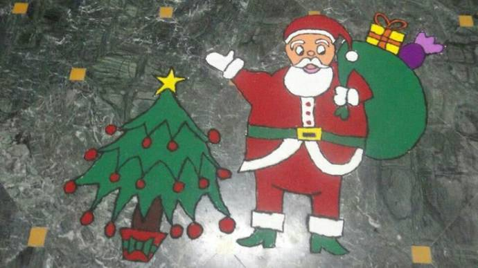 Santa Clause and Christmas Tree Rangoli