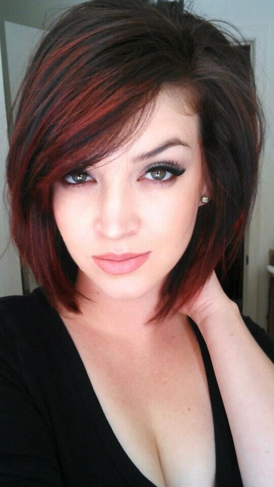 Short hair with red highlight
