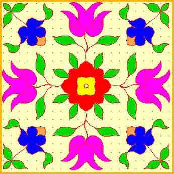 Square base with floral patterns