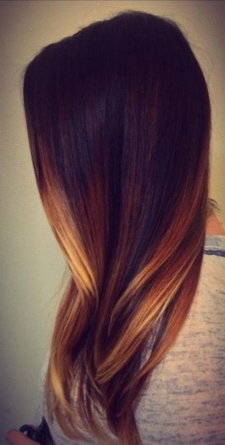 Straight black hair with gold highlights