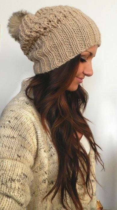 Straight hair with woolen cap
