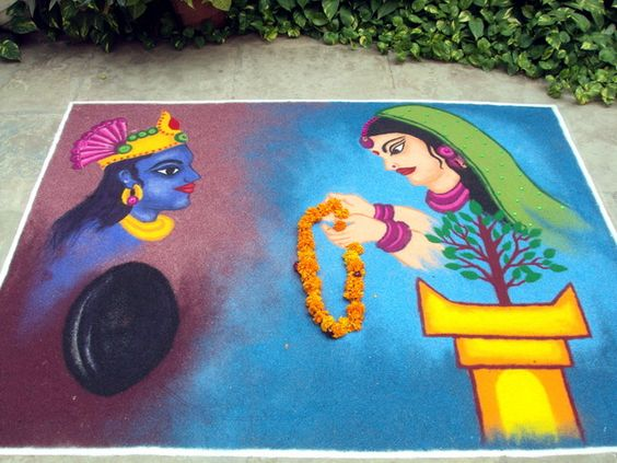 Traditional rangoli of tulsi marrying vishnu