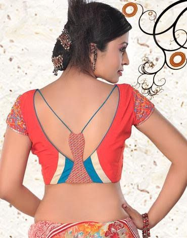 Trendy blouse back neck design with different colored patch work