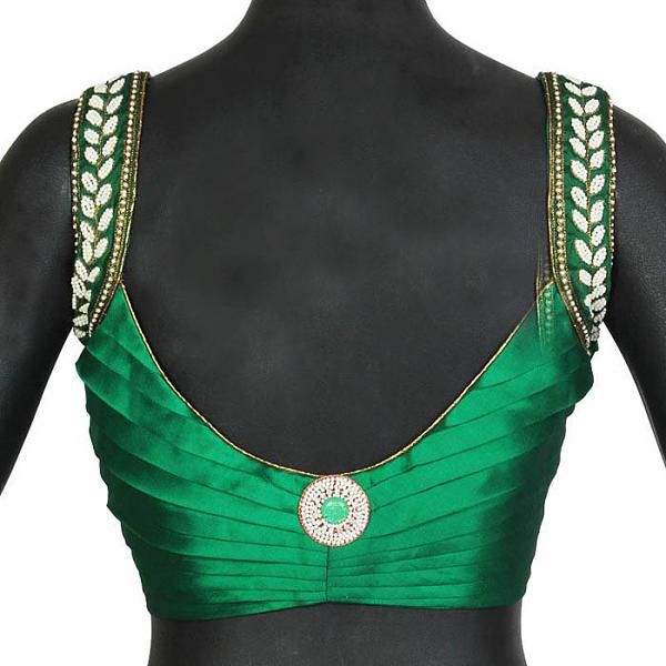 back neck blouse design with maggam work straps