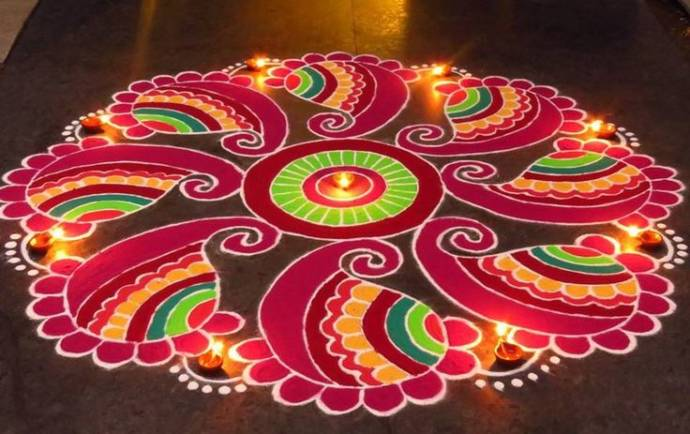big and bright rangoli designs