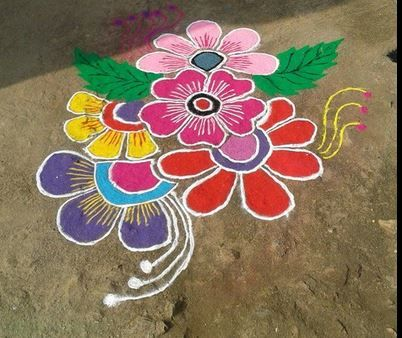 Easy rangoli designs with flowers & petals - Floral rangoli designs