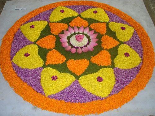 big rangoli design with lotus & petals of flowers