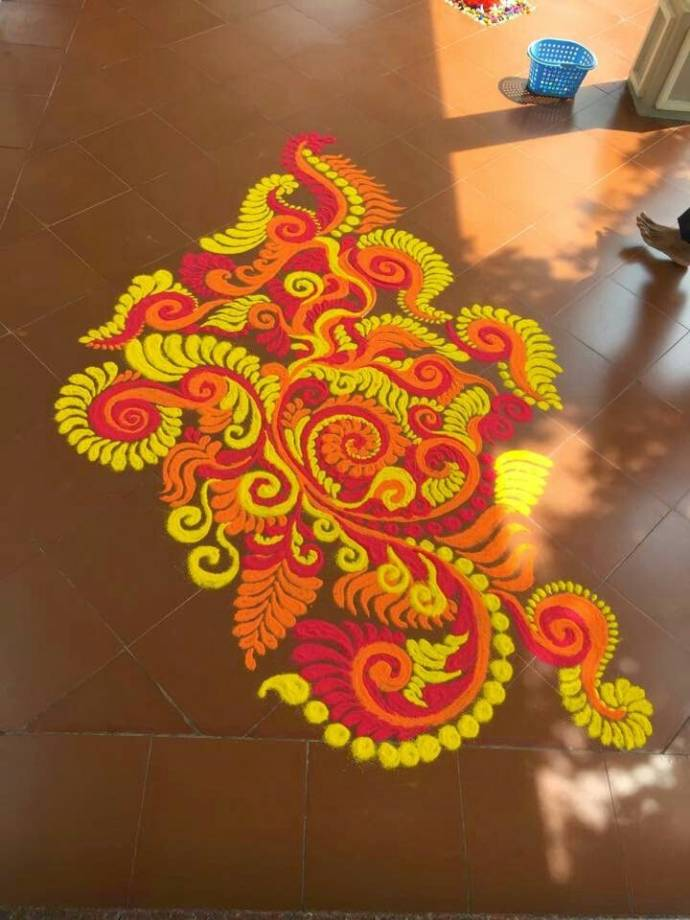 bright rangoli for diwali