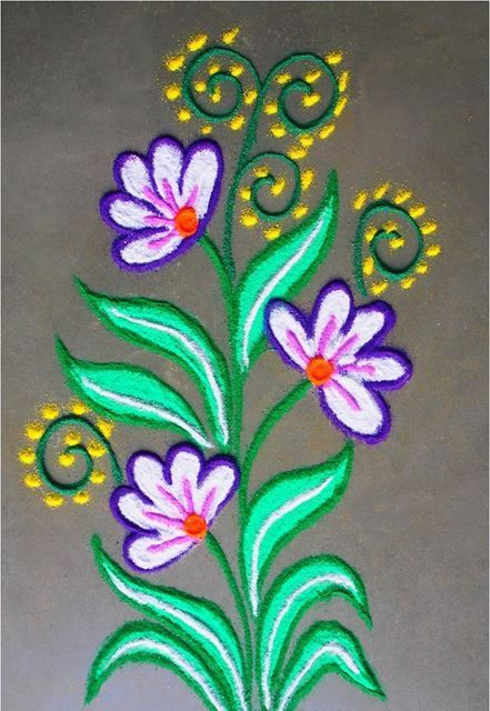 Aninimal Book: Easy rangoli designs with flowers & petals - Floral ...