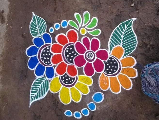 Easy Rangoli Designs With Flowers Petals Floral Rangoli Designs