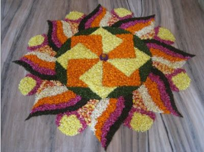 simple floral rangoli for festivals