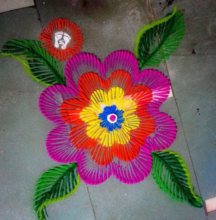 innovative floral rangoli