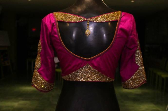 neck blouse back design with clasped flaps