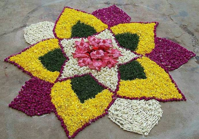 floral rangoli design with petals