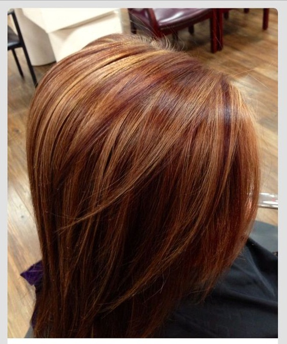 Auburn hairs with caramel highlights