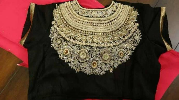 Black bridal blouse by Sabyasachi