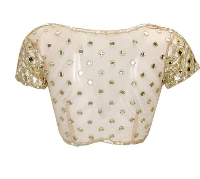 Blouse design with dispersed mirror work