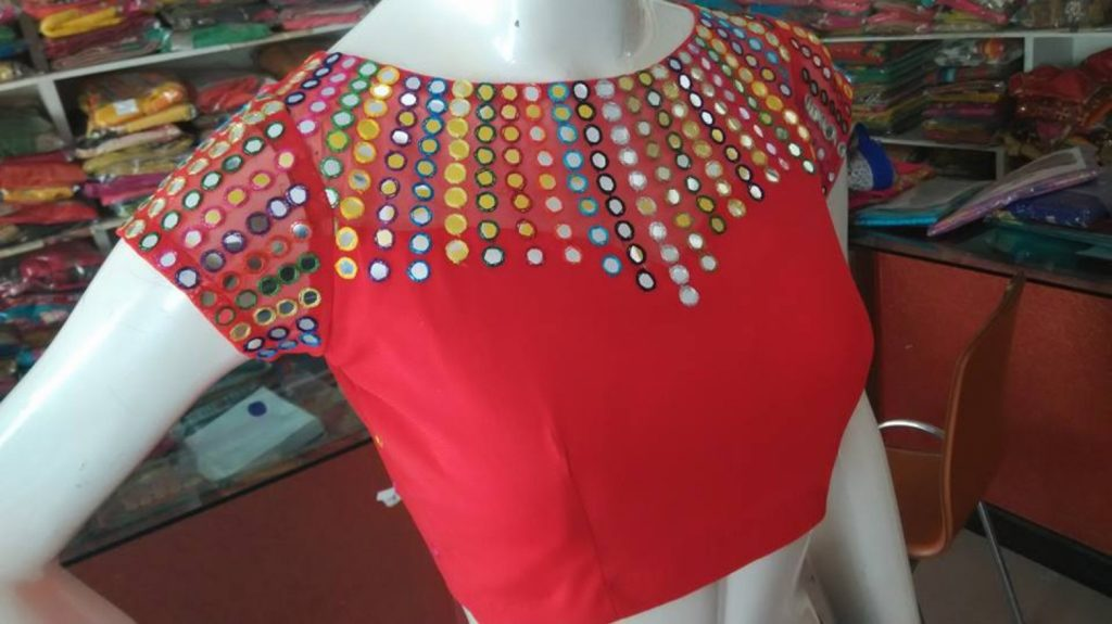 Boat neck blouse with mirror work