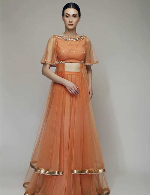 Boat neck with illusion cape sleeves for a lehenga