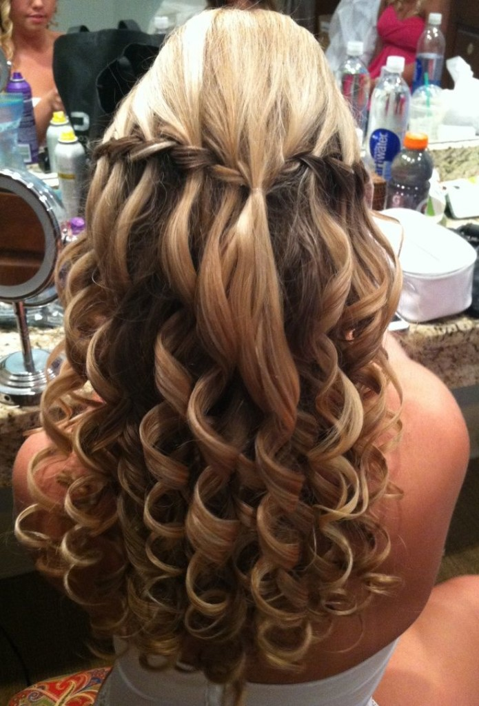 Braid hairstyle with waterfall and small curls