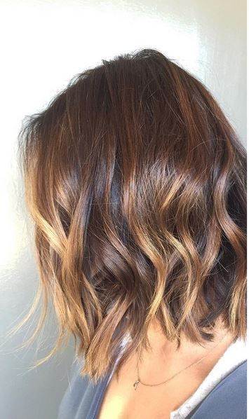 Short length hair highlights with caramel color brunette ombre highlight on short hairs pmusecretfo Gallery